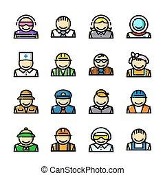profesiones, iconos, conjunto, vector, ilustración