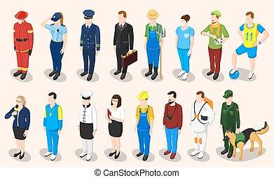 profesiones, isométrico, gente, conjunto