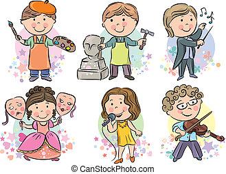 profesiones, niños, conjunto, 2