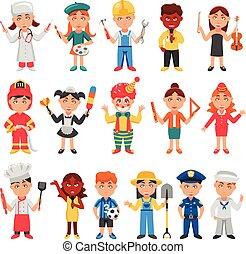 profesiones, niños, conjunto, iconos