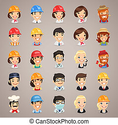 profesiones, vector, set1.3, caracteres, iconos