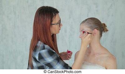 profesjonalny, charakteryzacja, tworzenie, twarz, makijaż,...