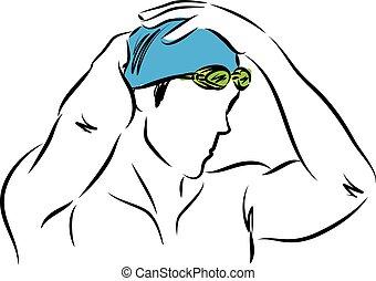 profesjonalny, ilustracja, człowiek, wektor, pływak