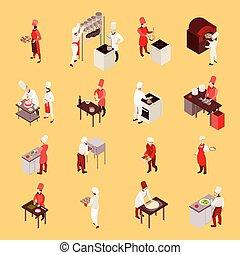 profesjonalny, isometric, gotowanie, ikony