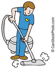 profesjonalny, kilim, sprzątaczka