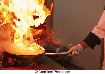 profesjonalny, kitchen:, sos, zrobienie