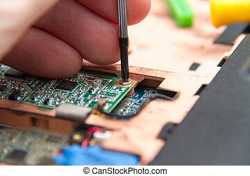 profesjonalny, laptop, naprawa