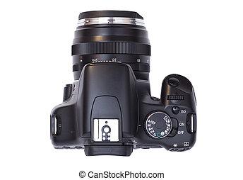 profesjonalny, nowoczesny, dslr, aparat fotograficzny, odizolowany, na białym