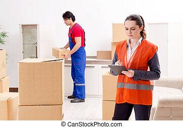 profesjonalny, przemieszczenie, napędy, dom