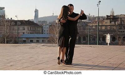profesjonalny, tancerze, taniec
