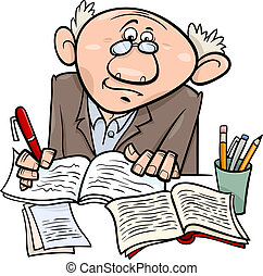 profesor, albo, pisarz, rysunek, ilustracja