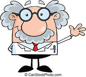 profesor, científico, o, sonriente