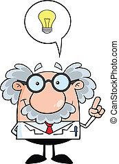 profesor, con, bueno, idea