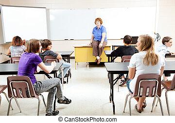 profesor, con, clase