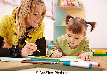 profesor, con el niño, en, preescolar