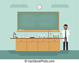 profesor de ciencia, enseñanza, estudiante, en, classroom.