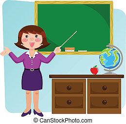 profesor, en, el, aula