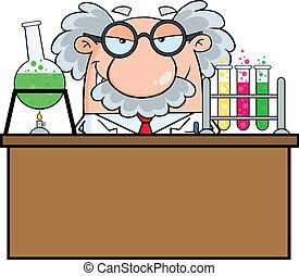 profesor, en, el, laboratorio