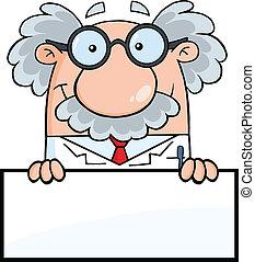 profesor, encima, muestra en blanco