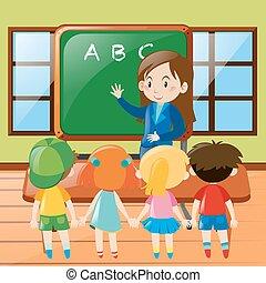 profesor, enseñanza, en, aula