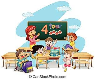 profesor, enseñanza, estudiantes, en, aula
