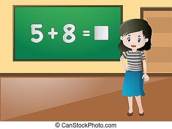 profesor, enseñanza, matemáticas, en, aula