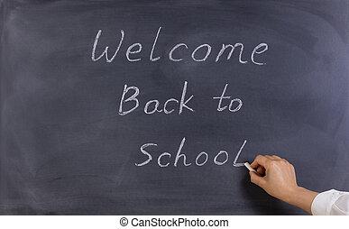 profesor, escritura, bienvenida, back to la escuela, en, erased, negro, pizarra