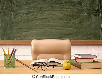 profesor, ilustración, verde, tabla, escritorio, frente, 3d