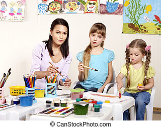 profesor, school., niños