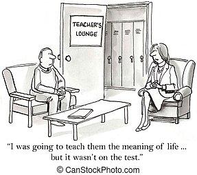profesor, solamente, enseña, a, traje, el, prueba