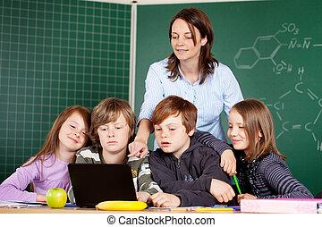 profesor, y, alumnos