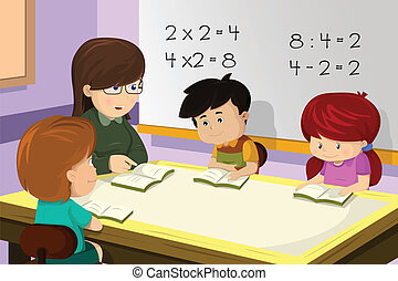 profesor, y, estudiante, en, el, aula