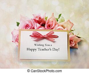 profesores, día, mensaje, con, rosas rosa