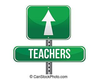 profesores, muestra del camino, ilustración, diseño