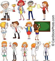 profesores, y, científicos, en, diferente, acciones