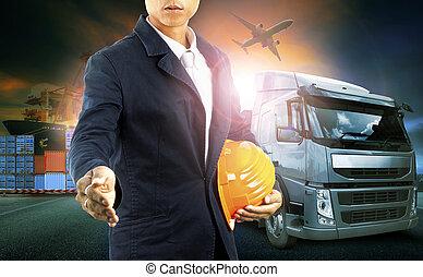 professinal, industri, kommerciel, firma, logistic, flyvemaskine, lastbil transporter, havn, import-export, mand, beholder, fragt, last