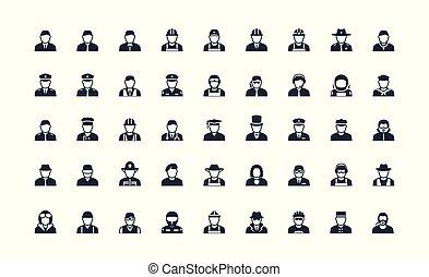 Profession and work avatars vector icon set