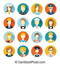 profession, avatar, sur, cercles