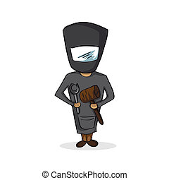 Profession black smith worker cartoon figure.