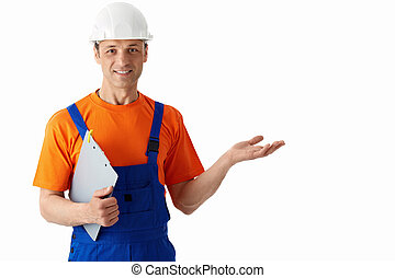 Builder in helmets on a white background