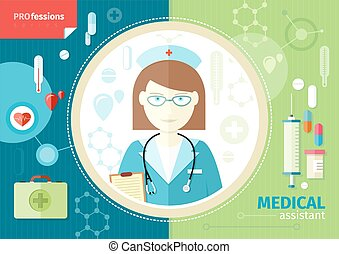 Profession concept with medical assistant in uniform with ...