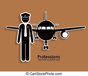 Profession design over beige background, vector illustration
