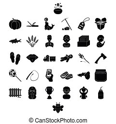 profession, food and other web icon in black style. plumbing, tool, man icons in set collection.