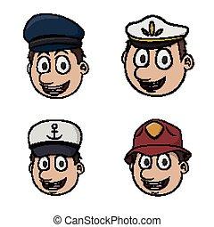 profession head illustration design