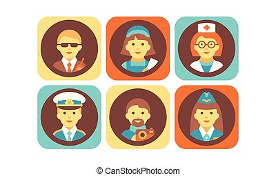 Profession icons set, bodyguard, nurse, doctor, pilot, stewardess, photographer working people vector Illustration on a white background