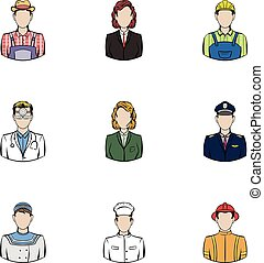 Profession icons set, cartoon style