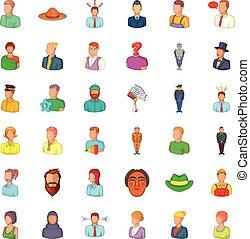 Profession icons set, cartoon style