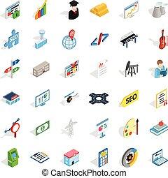 Profession icons set, isometric style