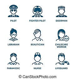 Profession icons || Set IV - Contour blue icons with...