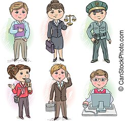 Set of occupations - manager, judge, policeman, reporter, businessman and programmer;